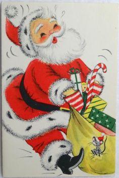 Vintage Hallmark Christmas Card Santa Claus Colorful Presents Cute Mouse Vintage Christmas Images, Retro Christmas, Vintage Holiday, Christmas Art, Christmas Things, Christmas Packages, Christmas Girls, Christmas Banners, Christmas 2016