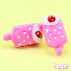 Strawberry Popsicle Earrings... Domi always gets Trini little earings to her liking...
