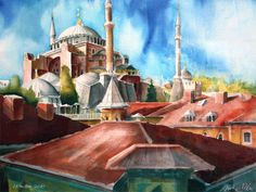 Istanbul 2010  20x30 watercolor  sold