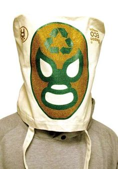 Eco Warrior Bag is Tote by Day, Mexican wrestling Mask by Night