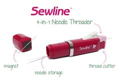 Sewline 4-in-1 Needle Threader. Awesome little tool has threader, thread cutter, needle storage & a magnet to pic up needles. Did I mention it looks like a tube of lipstick? must.have.