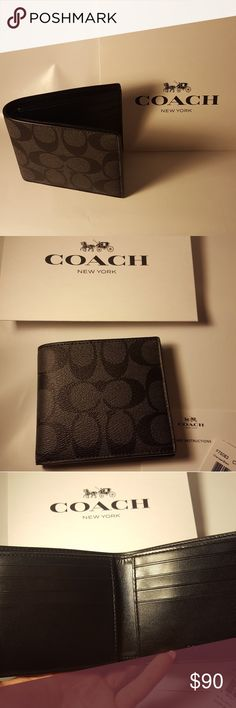 NWT Men's Coach Wallet Signature Coated canvas Men's Coach Wallet Signature Coated canvas.  Brand new never used, authentic wallet.  Great gift or a great gift for yourself at a really good discount.  Coach makes good quality products.  Comes along with tag, care instructions and gift box.  I bought directly from Coach, 100% authentic. Coach Bags Wallets