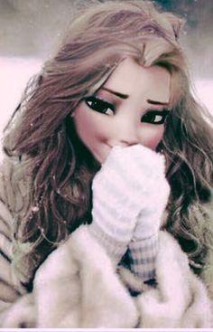 Elsa munis de ses gants et de son manteau bien chaud♡♡♡