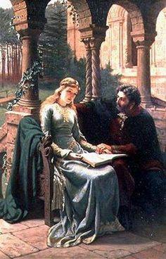 'Abelard and his Pupil Heloise'.  (1882). (by Edmund Blair Leighton).