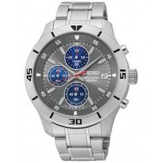 Seiko Mens Chronograph - Stainless Steel Bracelet - Grey Dial - Date Seiko Men, Seiko Watches, Watch Sale, Watches Online, Stainless Steel Bracelet, Casio Watch, Fashion Watches, Chronograph, Bracelet Watch