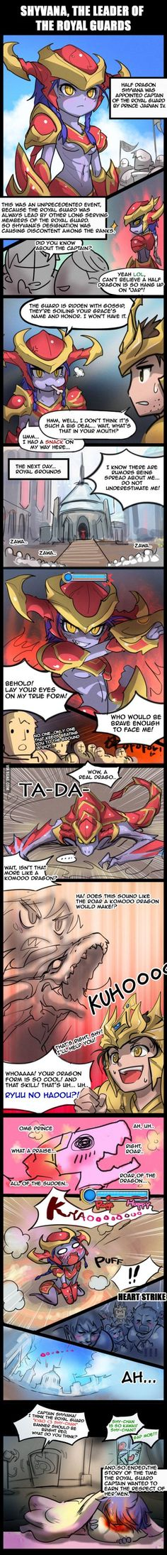 Shyvana, The Leader of the Royal Guards (Edited) by ptcrow on DeviantArt - League of Legends Shyvana League Of Legends, Leona League Of Legends, League Of Legends Memes, League Of Legends Characters, Cute Comics, Funny Comics, League Memes, Royal Guard, Riot Games