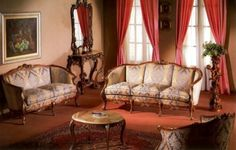 French living room furniture French Living Rooms, Retro Room, French Furniture, Home Theater, Game Room, Living Room Furniture, Design Inspiration, Couch, Family Rooms
