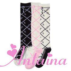 lolita i tube sokker Med vakre blomster Rundt svart og Hvitt mel - Taobao