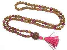 Stone of Love- Pink Jade Rudraksha Yoga Prayer Beads Malas Meditation Necklace, Gift Idea Mogul Interior http://www.amazon.com/dp/B00YX5O2MU/ref=cm_sw_r_pi_dp_zfzCvb1QR77PN