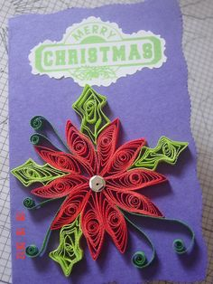 Quilling, Quilled flowers, Paper craft, Greeting cards, Quills, Christmas card quilling
