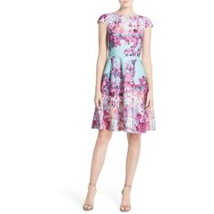 Petite Adrianna Papell Floral Print Scuba Fit & Flare Dress ($130) ❤ liked on Polyvore featuring dresses, dusty mint, petite, fit and flare dress, flower print dress, white cap sleeve dress, adrianna papell dresses and floral skater skirt