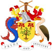 Brasão de armas de Barbados. Coat of arms of Barbados.