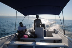 Our captains en route to Sirena, Corcovado National Park. Calm seas, sunshine and dolphin spottings! #PuraVida #CostaRica
