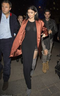 Kylie Jenner.. satin blazer, maxi dress, and Gianvito Rossi suede cuissard boots..