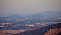 The Lehigh Valley looking east from Bethlehem PA and Lehigh University's Mountain Campus in the right foreground is St Lukes Hospital Anderson Campus and the water tower towards the back is in downtown Easton's west ward January 2014