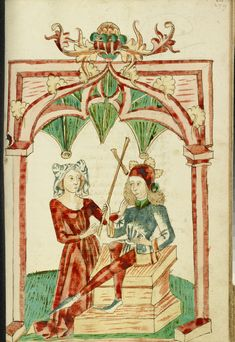 A Woman Touches the Hair of the Enthroned Josaphat; Follower of Hans Schilling (German, active 1459 - 1467), from the Workshop of Diebold Lauber (German, active 1427 - 1467); Hagenau, Alsace, France (formerly Germany); 1469; Ink, colored washes, and tempera colors on paper; Leaf: 28.6 x 20.3 cm (11 1/4 x 8 in.); Ms. Ludwig XV 9, fol. 278