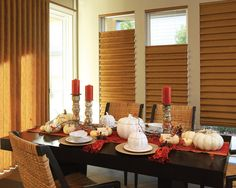 Hunter Douglas vignette roman shades set the perfect back ground to your holiday meal, provided to you by Innovative Openings in Louisville, CO. 303-665-1305