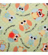 Babyville PUL Fabric-Owls Green