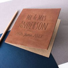 Engraved Leather Anniversary Card - by year                              …