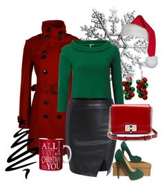 """""""Christmas Chic!"""" by briannaandrews500 ❤ liked on Polyvore featuring Burberry, White Stuff, Christian Louboutin, Diane Von Furstenberg and Kim Rogers"""