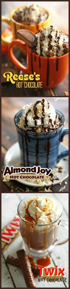 Just when you think homemade hot chocolate can't get any better... Almond Joy, Reeses, and Twix hot chocolate! Homemade Hot Chocolate, Hot Chocolate Bars, Hot Chocolate Recipes, Chocolate Party, Alcohol Chocolate, Chocolate Shake, Almond Chocolate, Chocolate Milkshake, Chocolate Espresso