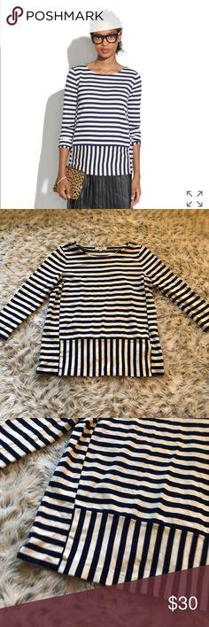Madewell stripeturn ponte Top blue white stripes m NWOT Madewell stripeturn ponte Top. Blue and white striped. Size medium! brand new never worn. Super cute! Sold out online Madewell Tops