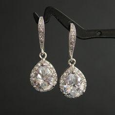 Wedding Jewelry Wedding Earrings Bridal Earrings Silver Clear Luxury Cubic Zirconia  Drop Earrings