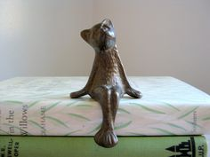 Brass Cat Figurine Shelf Sitter Sitting by NaturalVintage on Etsy