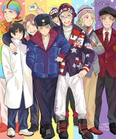 Hetalia characters in their respective nations' athletes' uniforms during the Opening Ceremonies of the 2014 Sochi Winter Olympics. Left to right: Ludwig, Kiku, Feliciano, Arthur, Matthew (WAY in the back!), Alfred, Francis, and Antonio - Art by ほ