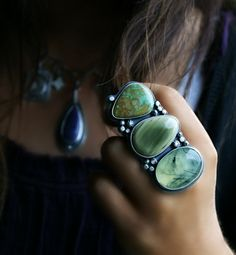 Growing Toward the Light - Prehnite, Imperial Jasper, and Turquoise Sterling Silver Ring