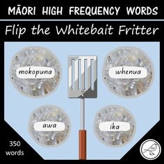 A fun hands-on activity that will help your learners to read a wide range of high frequency Māori words. Print and laminate the whitebait fritters. Students use a kitchen spatula to flip the word over. School Resources, Classroom Resources, Maori Words, Kitchen Spatula, Getting Fired, High Frequency Words, Classroom Environment, Hands On Activities, Sight Words