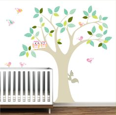 Vinyl+Wall+Decal+with+Owls+Birds+Pattern+leavesTree+by+Modernwalls,+$99.00