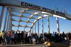 President Obama, First Lady Michelle Obama and the First Family are joined by former President George W. Bush, former First Lady Laura Bush, Rep. John Lewis, former foot soldiers and other dignitaries in marching across the Edmund Pettus Bridge to commemorate the 50th Anniversary of Bloody Sunday and the Selma to Montgomery civil rights marches, at the Edmund Pettus Bridge in Selma, Ala.