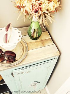 My Fabuless Life: Discarded Cabinet becomes Entry Organization - love the planked top. Great idea!