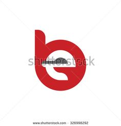be, eb letter rounded letter logo red