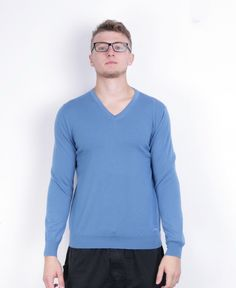 Burberry Mens XL Jumper V Neck Blue Sweater Merino Wool