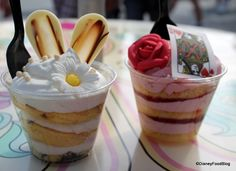 White Chocolate Rabbit and Queen of Hearts Strawberry Shortcake Cake Cups at Magic Kingdom's Cheshire Cafe