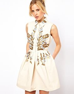 Image 1 of ASOS Shirt Dress With Habanero Embroidery