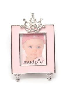 Mud Pie Baby Little Princess Jeweled Pink Enamel Photo Frame, Tiara: Baby