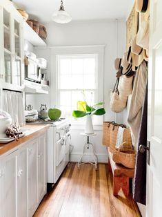 stylish white galley kitchen