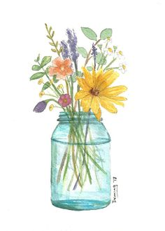 Items similar to Ball Jar Flowers - Watercolor Print - Art Print - Watercolor Flowers - Spring Flowers on Etsy Watercolor Water, Watercolor Artists, Watercolor Cards, Watercolor Print, Watercolor Flowers, Watercolor Paintings, Drawing Flowers, Watercolor Portraits, Watercolor Landscape