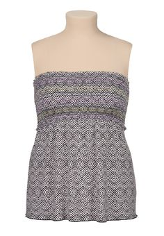 contrast print smocked plus size tube top - maurices.com