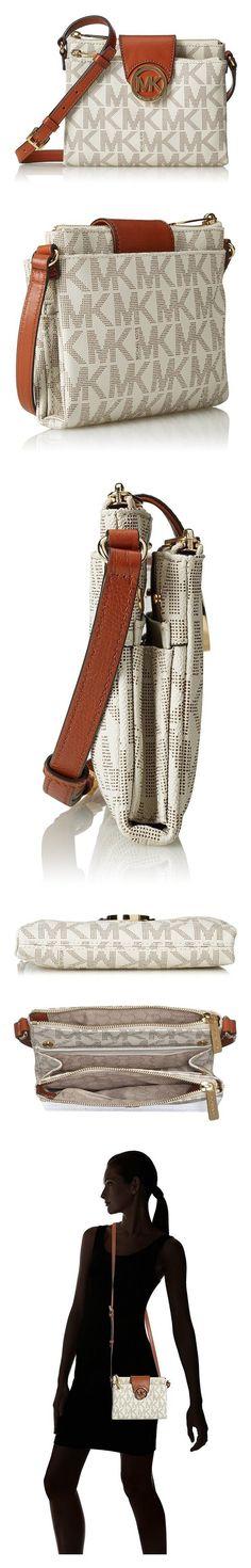 0eb870488841  149.99 - Michael Kors Women s Fulton Large Crossbody Leather Cross-Body  Satchel Vanilla  michaelkors