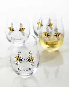 Buzzed!+Wine+Glasses,+Set+of+4+by+August+Morgan+at+Neiman+Marcus.