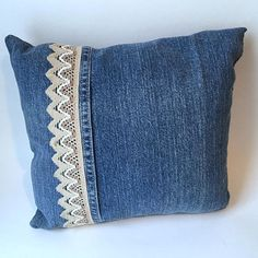 Items similar to OOAK pillow made from repurposed jeans trimmed with three tone beige woven trim on Etsy Denim And Lace, Sewing Hacks, Sewing Crafts, Denim Scraps, Jean Crafts, Denim Ideas, Sewing Pillows, Old Jeans, Recycled Denim