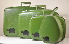 Now all I need is a train to travel on. Vintage Suitcases, Vintage Luggage, Chi Eta Phi, Delta Zeta, Turtle Love, Green Turtle, Suitcase Set, Tortoise Turtle, Tortoises