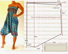 Moldes Moda por Medida: MACACÃO FÁCIL DE FAZER-13 Romper harem pants with smocked waistband bodice pattern diagram