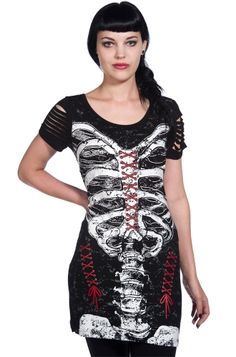 Banned Laced Skeleton Slash Sleeve Women's Top, £17.99