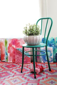 Chair plant stand- Elsie Larson's Dining Room Tour
