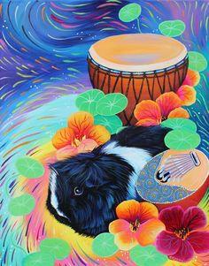 Zaria Petals  My fancy pig with Nasturtiums, drum and Mbira.  Original Acrylic Painting 16 x 20